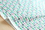 Japanese Kei Fabric retro fruit - pink, green - fat quarter