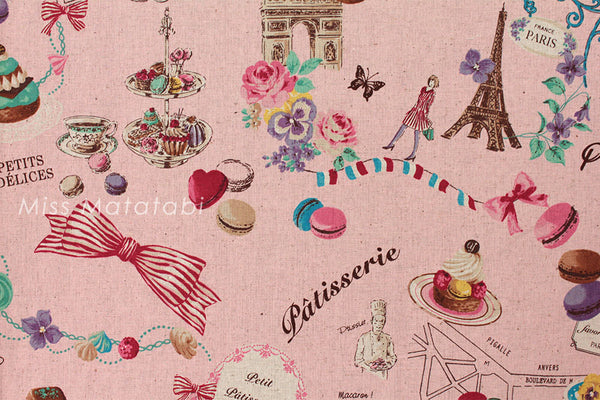 Japanese Fabric Yuwa - Paris Sweets - pink - canvas - fat quarter