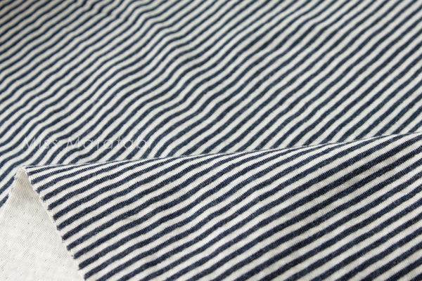 Reversible double knit - stripes - navy blue, cream