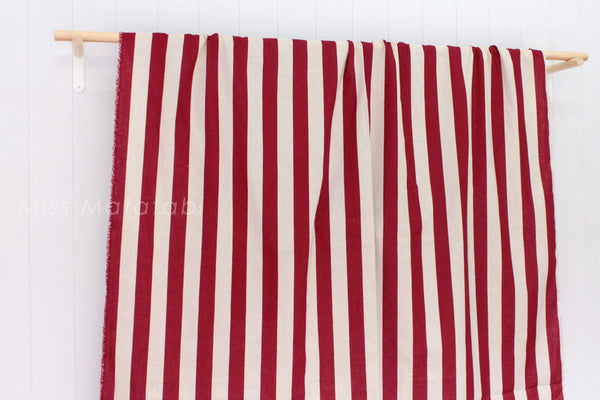 Japanese Fabric - Large stripes - red, natural - fat quarter
