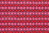 Japanese Fabric - retro flowers - red, pink
