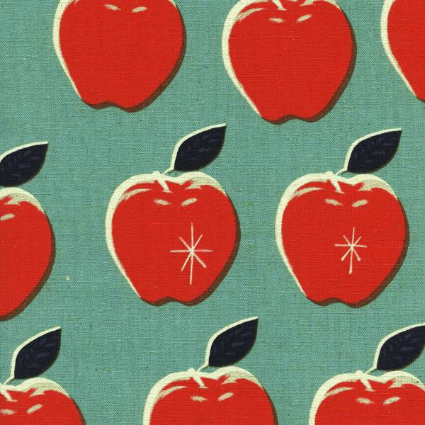 Cotton + Steel Picnic - canvas apples blue / red