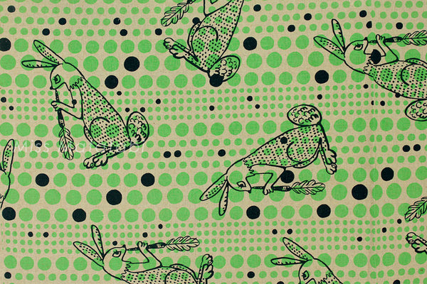 Kokka Ranrara rabbit - neon green - fat quarter