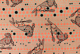 Kokka Ranrara rabbit - neon orange - fat quarter