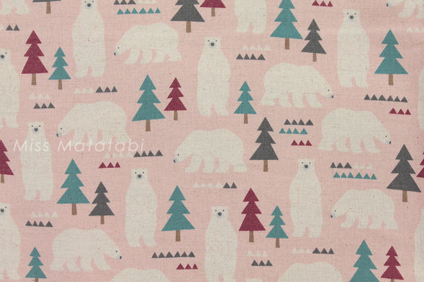 Kokka Nordic bears - pink - fat quarter