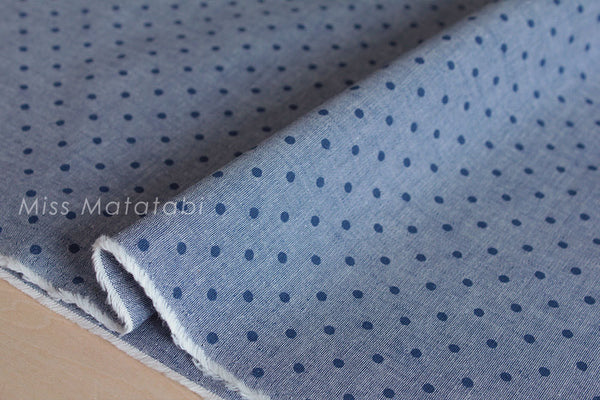 Japanese Fabric - indigo chambray polka dots  - blue