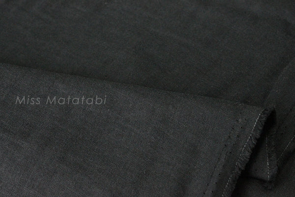 Japanese Fabric - Kobayashi solid TRIPLE gauze - black