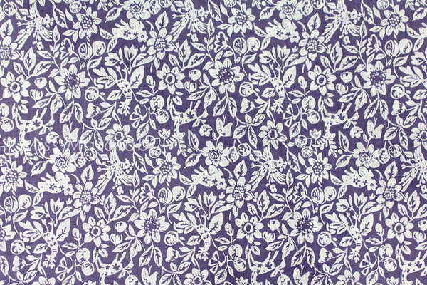 Japanese Fabric Yuwa Garden - cotton, wool slub voile - blue