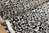 Japanese Fabric Yuwa Garden - cotton, wool slub voile - black