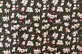 Japanese Fabric Yuwa Christmas kittens - charcoal - fat quarter