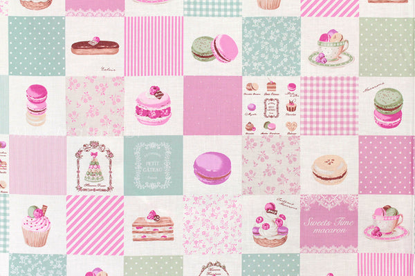 Japanese Fabric Yuwa Sweets Time Macaron - A - fat quarter