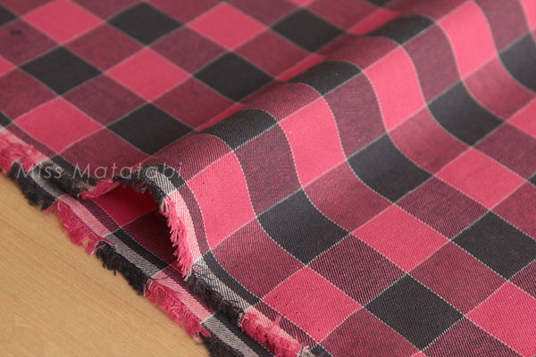 Japanese Fabric yarn dyed gingham check - black, red