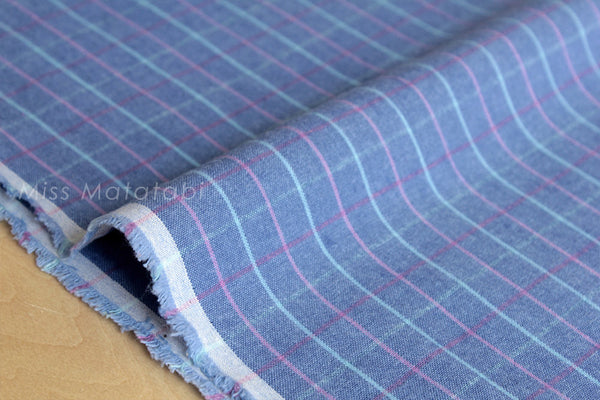 Japanese Fabric - check canvas - blue - fat quarter