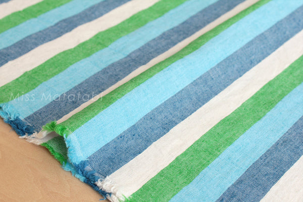 Chino canvas stripes - blue, green, aqua, white