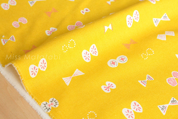 Japanese Fabric - butterfly ribbons canvas - yellow