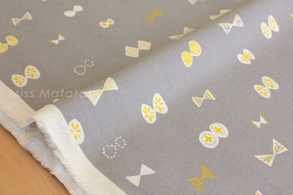 Japanese Fabric - butterfly ribbons canvas - grey