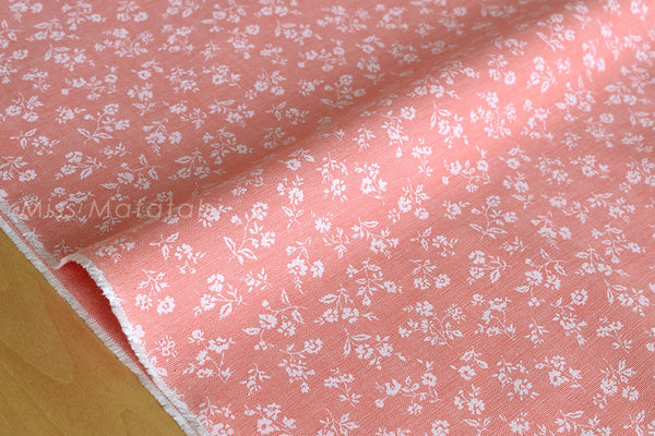 Japanese Fabric - chambray floral  - peach