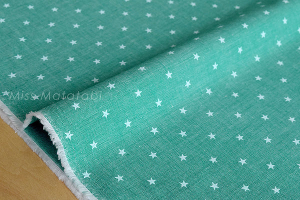 Japanese Fabric - chambray stars  - green - fat quarter