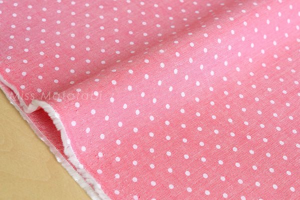 Japanese Fabric - chambray polka dots  - pink - fat quarter