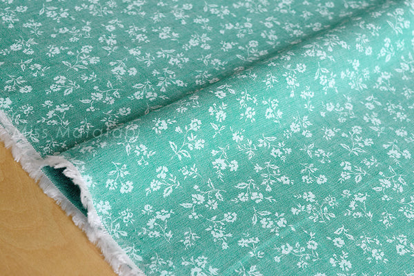 Japanese Fabric - chambray floral  - green - fat quarter