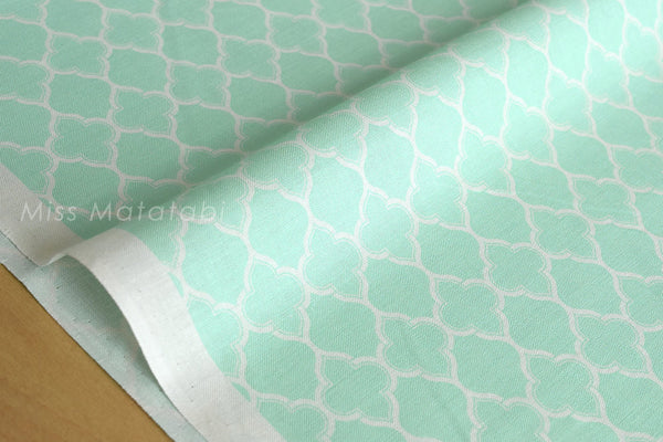 Japanese Fabric Yuwa Moroccan geometric - mint