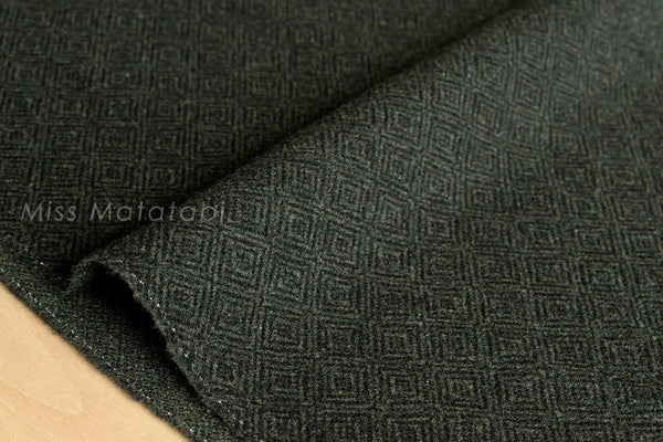 Japanese Fabric Wool Melton diamond - dark, forest green