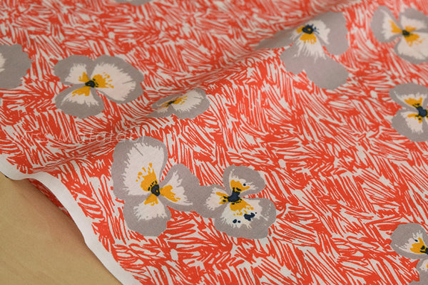 Pansie scribble - cotton lawn - orange red