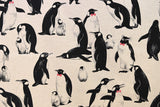 Japanese Fabric - Emperor penguins canvas - natural