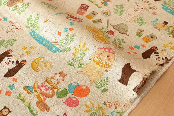Japanese Fabric - animal dance canvas - natural