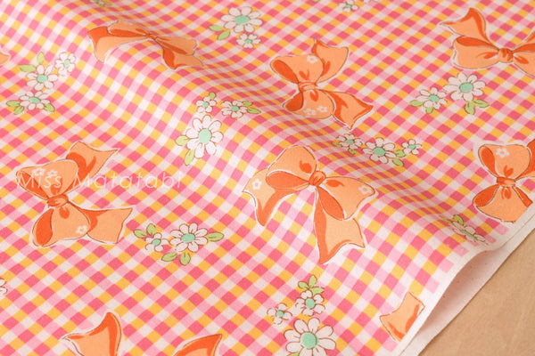 Japanese Fabric Atsuko Matsuyama gingham ribbon - orange  - fat quarter