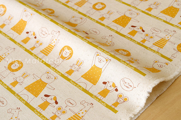 Kokka Trefle Petite Ecole Excerise - yellow - fat quarter