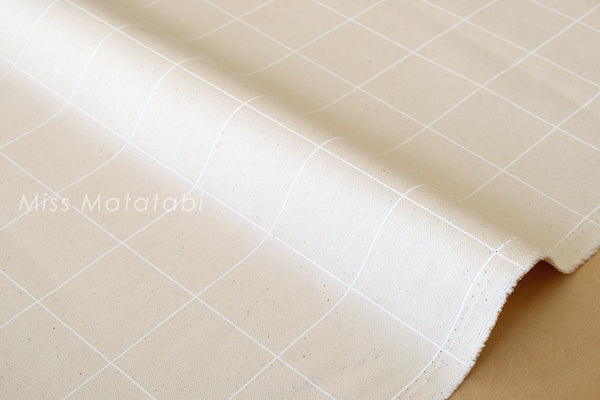 Japanese Fabric - minimal check canvas - white, natural