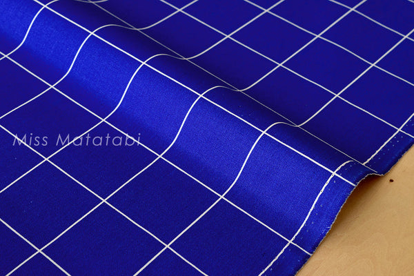 Japanese Fabric - minimal check canvas - cobalt blue, natural - fat quarter