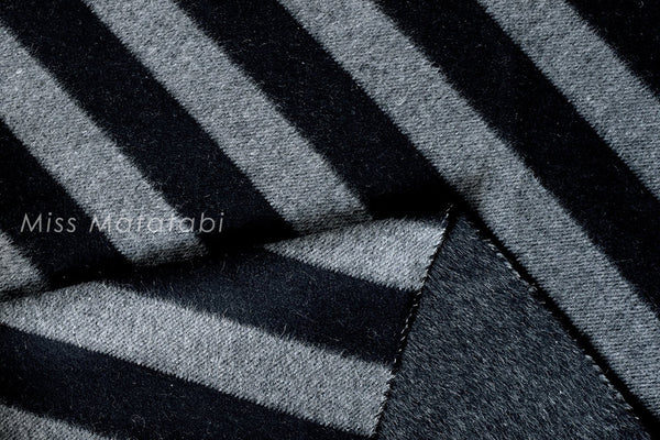 Double-Faced Yarn Dyed Wool - large stripes - black, charcoal grey