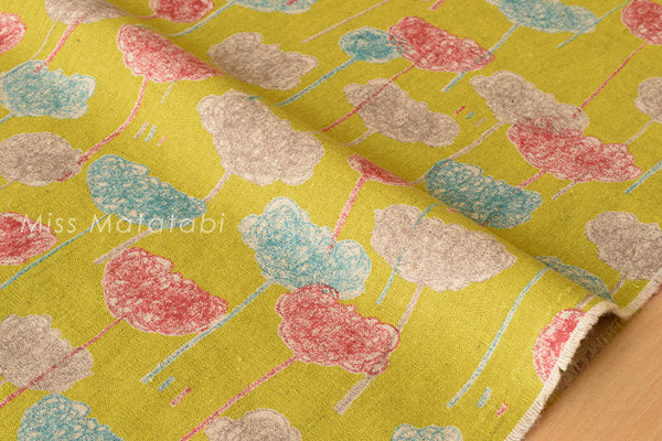 Japanese Fabric - crayon flowers canvas - B - fat quarter