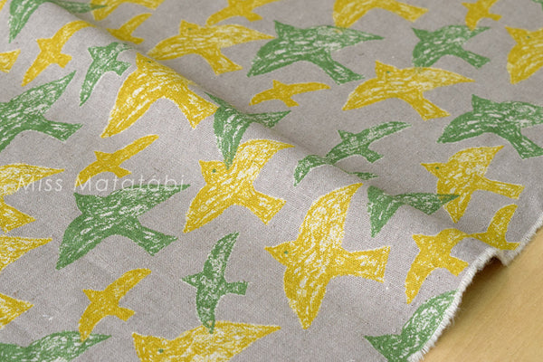 Japanese Fabric - crayon birds canvas - B - fat quarter