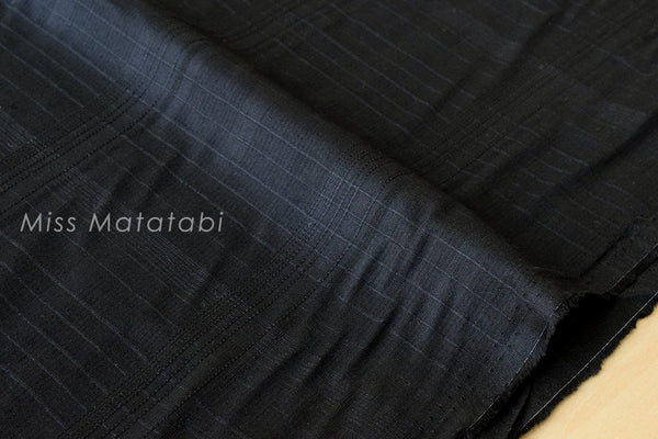 Japanese Fabric - yarn dyed dobby lawn - black