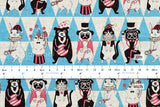 Japanese Fabric - animal parade canvas - blue