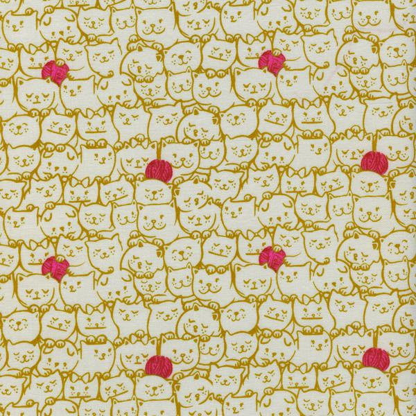 Cotton + Steel Cat Lady - stack-o-cats mustard - fat quarter
