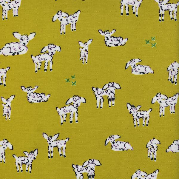 Cotton + Steel Clover - little lambs green - fat quarter