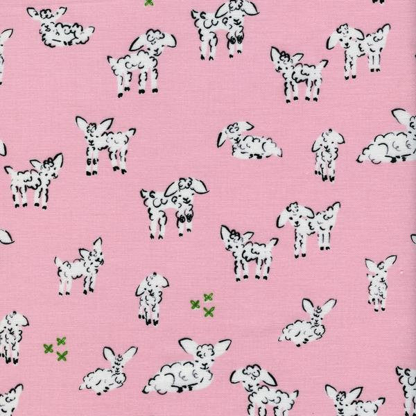 Cotton + Steel Clover - little lambs pink - fat quarter