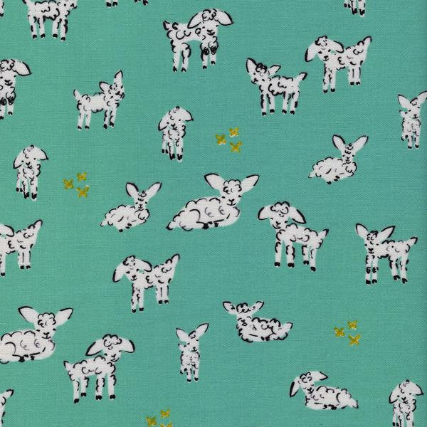 Cotton + Steel Clover - little lambs turquoise