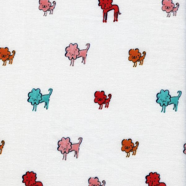 Cotton + Steel Clover double gauze - dog lions pink