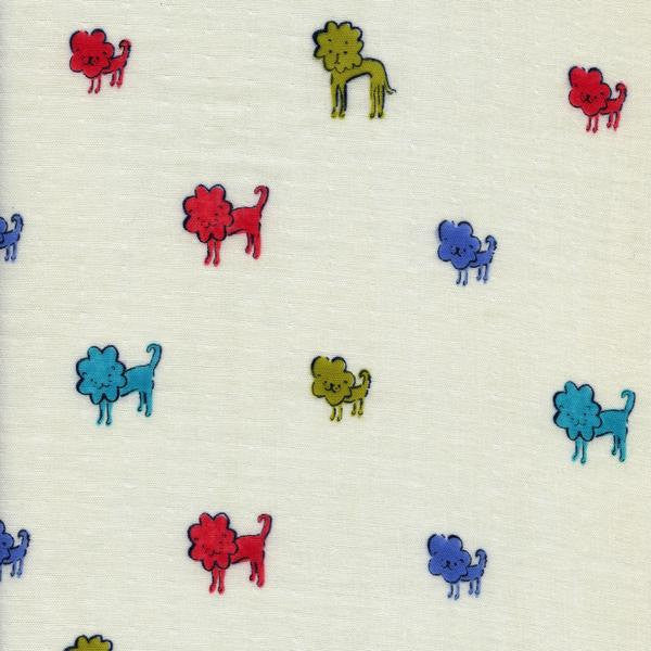 Cotton + Steel Clover double gauze - dog lions blue