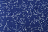 Japanese Fabric Big Cat - blue, natural