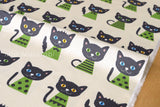 Japanese Fabric - Putidepome - cats - green