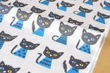 Japanese Fabric - Putidepome - cats - blue