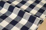 Japanese Fabric - large gingham check - cream, navy blue