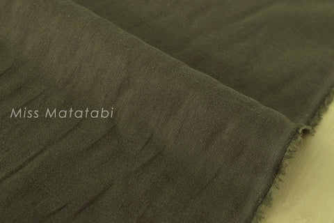 Japanese Fabric 100% brushed linen - dark olive green