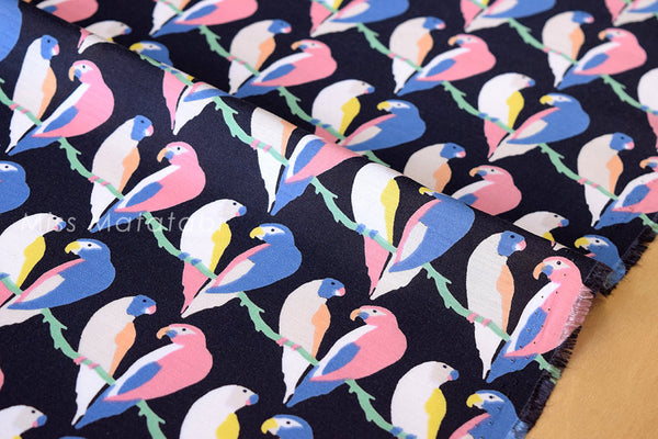 Lovebirds - poly lawn - navy blue